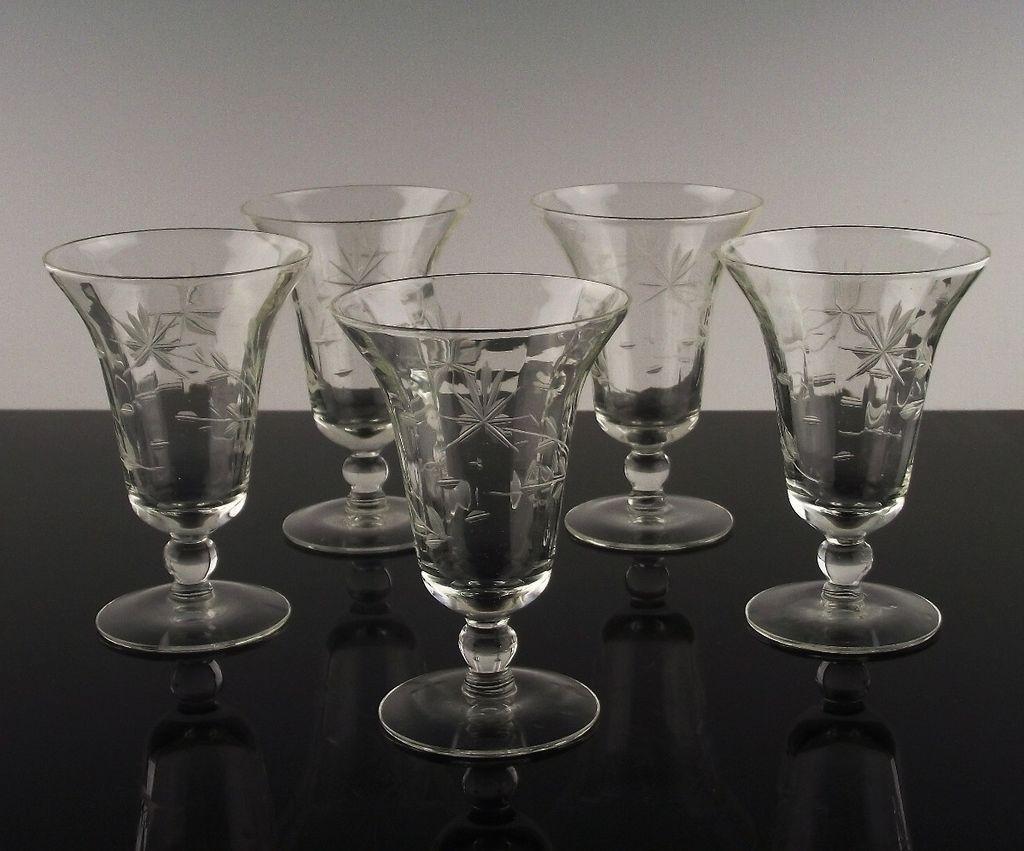 Gray Cut Floral Juice Glasses