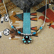 Zuni Sterling and Turquoise Necklace ca 1970's