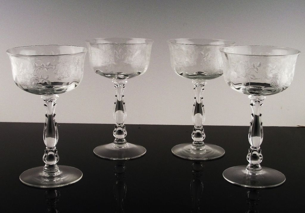 "Elegant ""Willowmere"" Champagne/Champagne Cocktail by Fostoria ca 1938-1970"