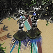 Sterling Silver and Natural Peacock Feather Earrings