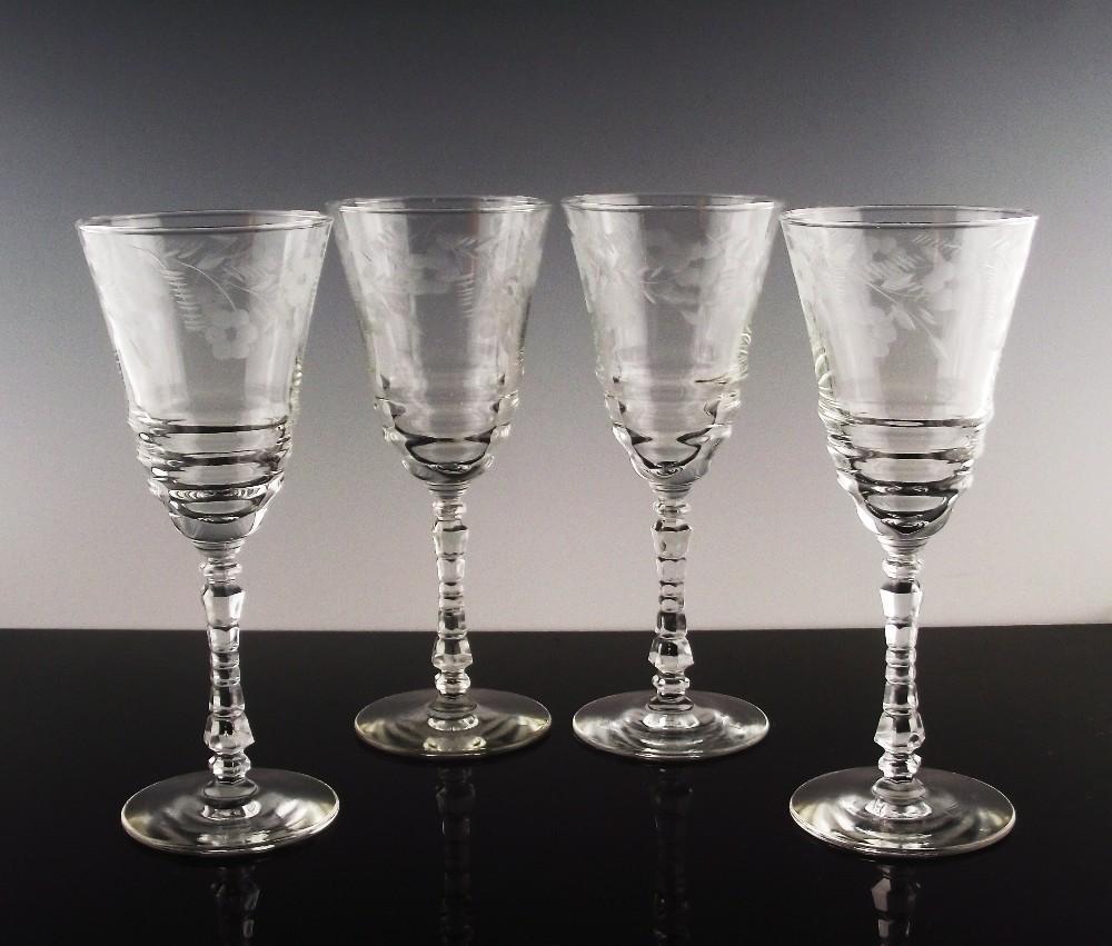 Libbey Rock Sharpe Water/Large Wine Glasses ca 1940's