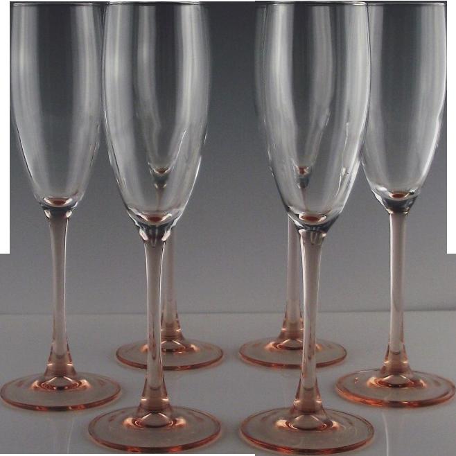 Pink Stem Champagne Flutes Made in France