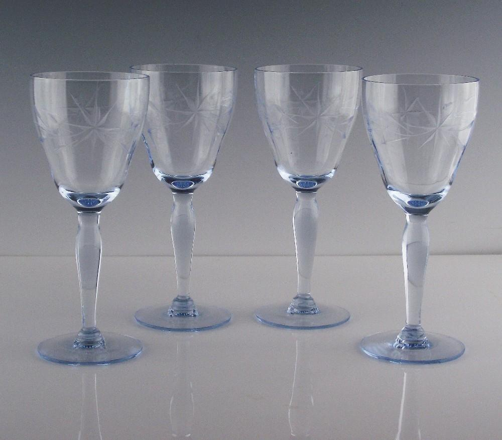 Blue Star Cut Wine Glasses