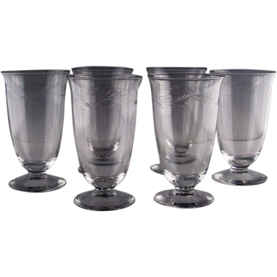 Arcadia Tea Glasses by Riezart Crystal ca 1953-71