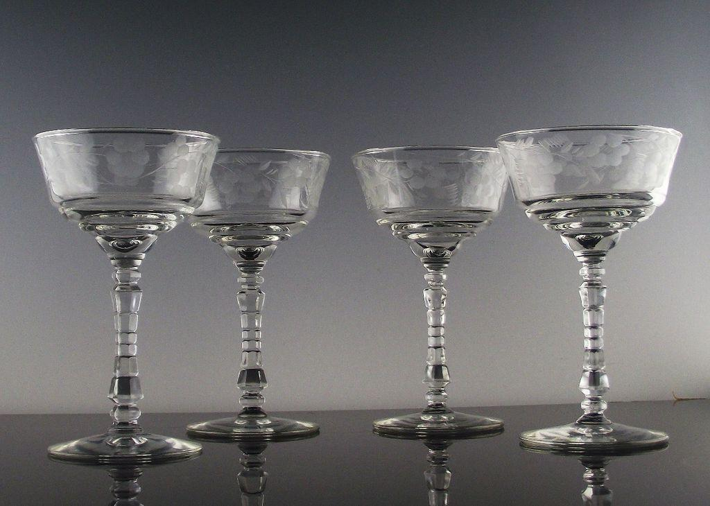 Libbey Rock Sharpe Champagne/Champagne Cocktail Glasses ca 1940's