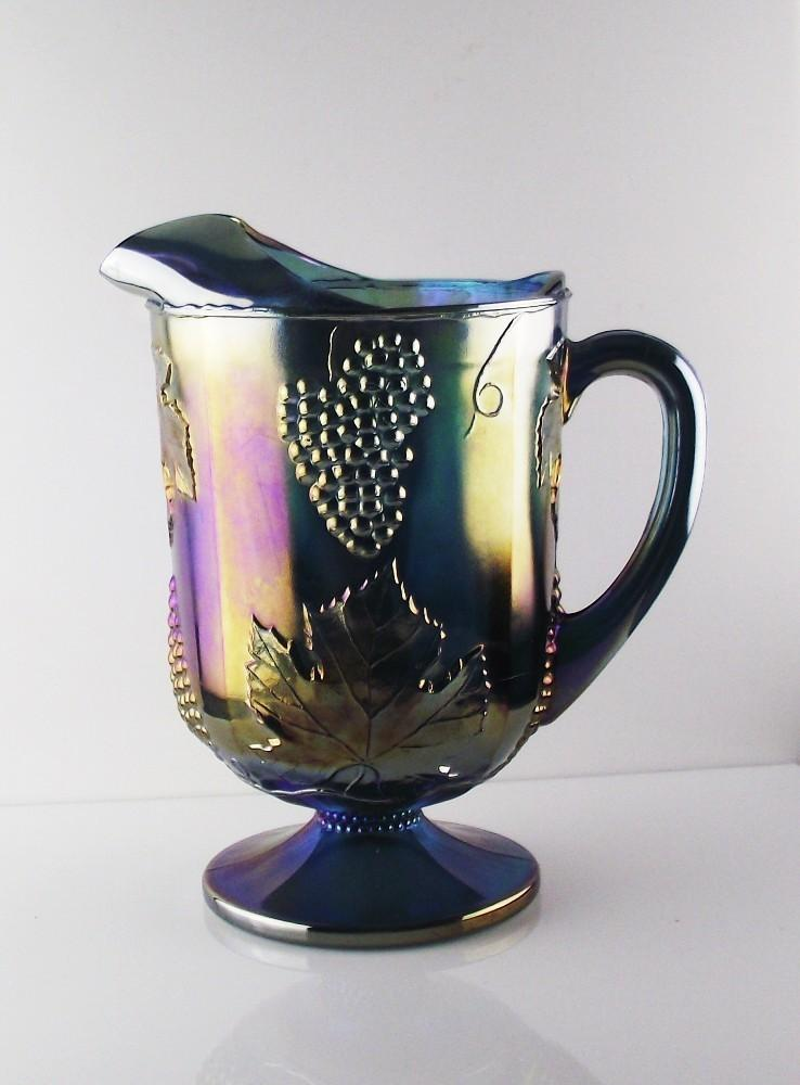 Indiana Glass Blue Carnival Harvest Pitcher ca 1970's
