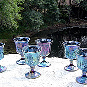 Indiana Glass Blue Carnival Harvest Goblets ca 1970's