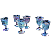 Indiana Glass Blue Carnival Harvest Goblets ca 1970's