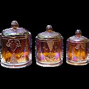 Vintage Harvest Amber Carnival Canister Set ca 1970's