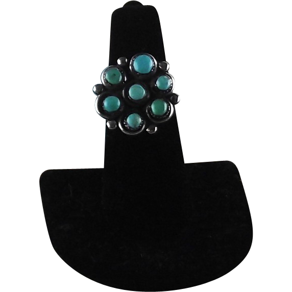 Zuni Sterling and Turquoise Petit Point Ring ca 1970's