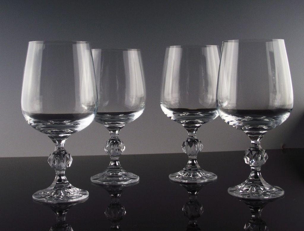 "Bohemian Crystal ""Claudia"" Water/Large Wine Goblets"