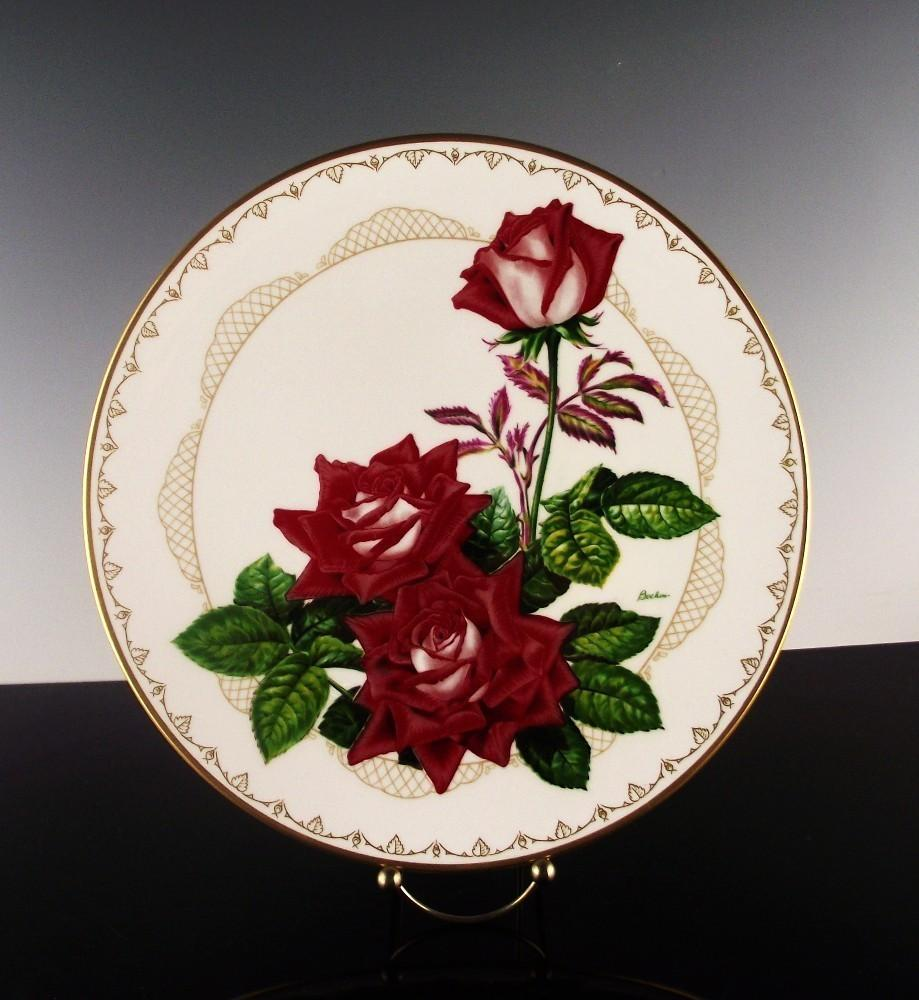 "Boehm Porcelain Collector's Plate ""The Love Rose"" ca 1981"