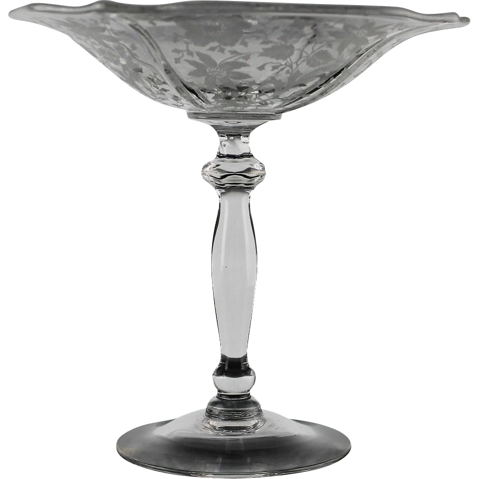 Wildflower Compote by Cambridge Glass ca 1935