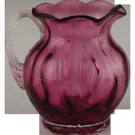 Hand Blown Cranberry Glass Pitcher