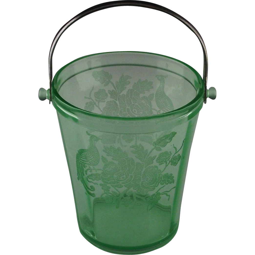 Peacock Etched Depression Glass Ice Bucket ca 1929-1935