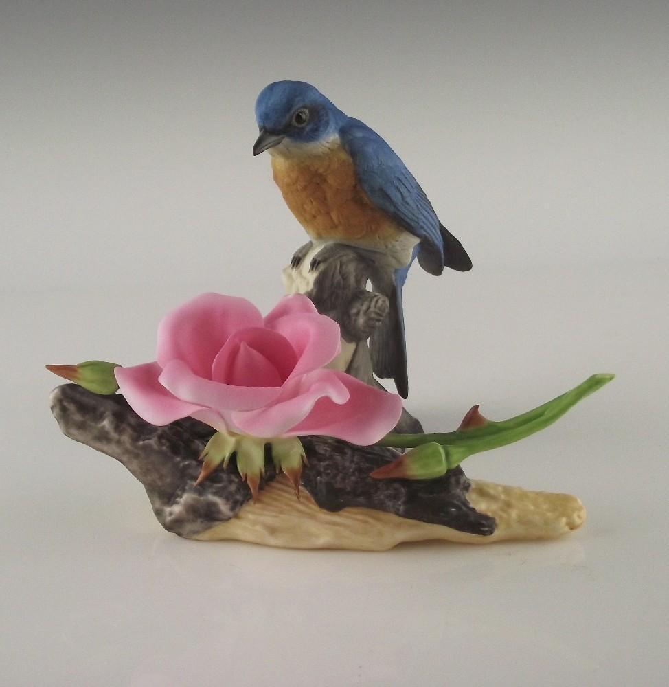 Boehm Porcelain Bluebird and Dwarf Rose ca 1984
