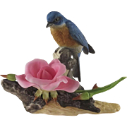 Boehm Porcelain Bluebird and Dwarf Rose ca 1984