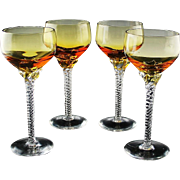 Elegant Amber Wine Glasses With Twisted Stem