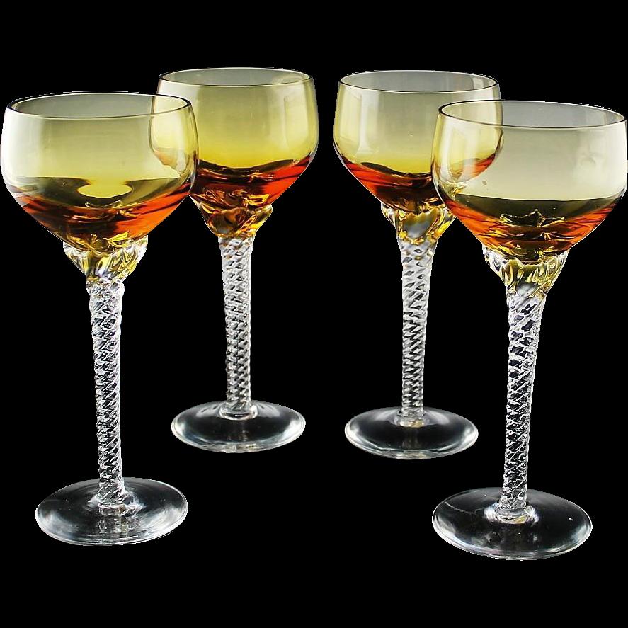 Elegant Amber Wine Glasses With Twisted Stem