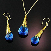 Ex-Large Pear Briolette Necklace and Earring Set