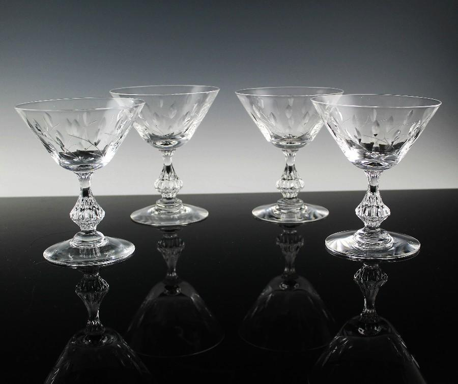 Cut Crystal Champagne/Champagne Cocktail Glasses In Willow Pattern