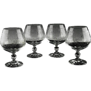 Needle Etched Bohemian Brandy Snifters in Cascade Pattern