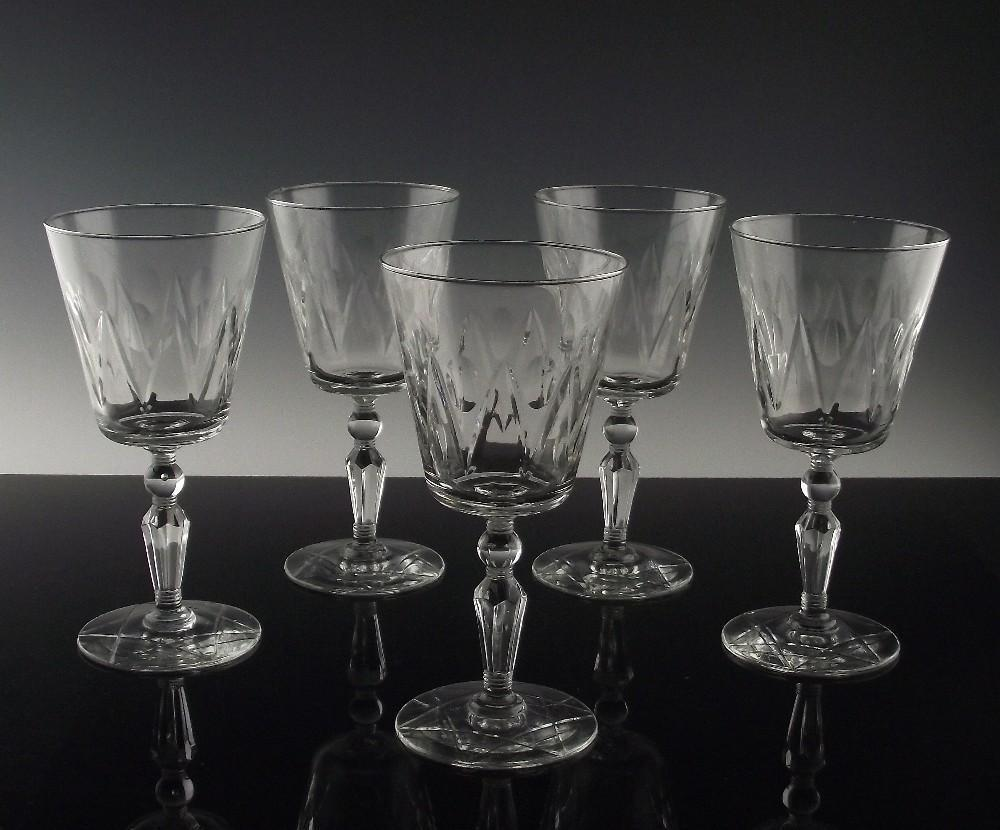 Libbey Rock Sharpe Water/Large Wine Glasses ca 1950's