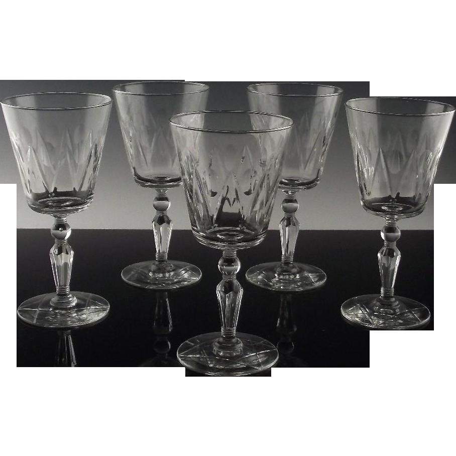 Libbey Rock Sharpe Water/Large Wine Glasses ca 1950's