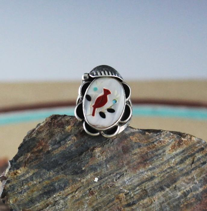 Navajo Inlay and Mother of Pearl Ring ca 1980's