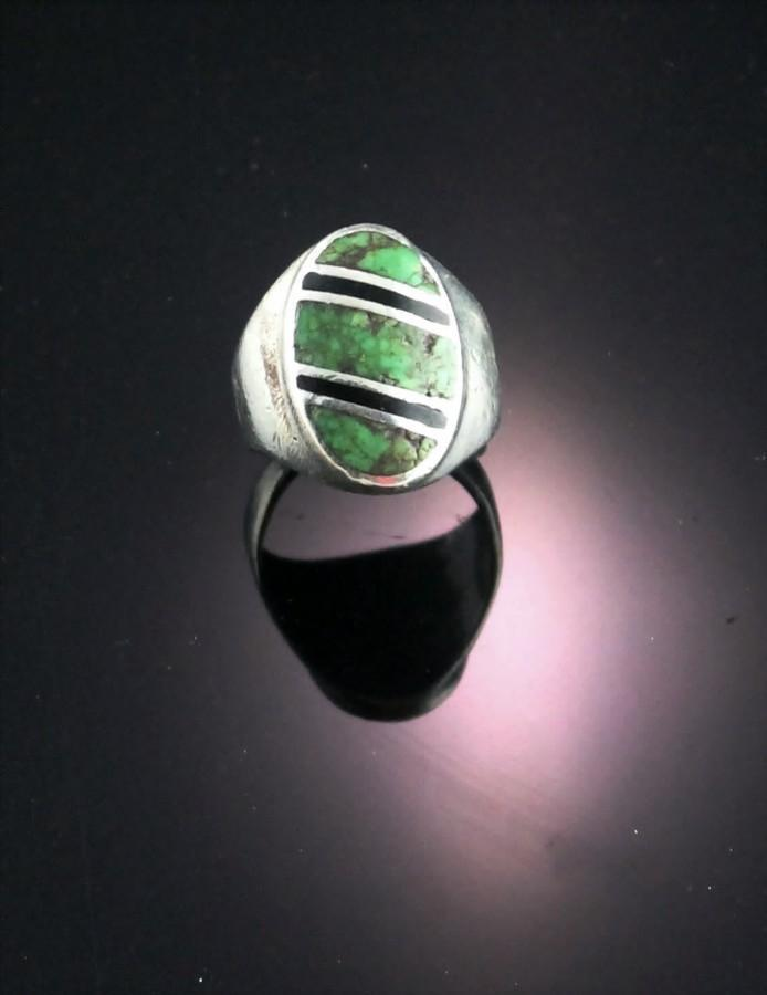Cast Sterling and Turquoise Ring ca 1970's