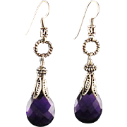 Sterling Silver Amethyst Pear Briolette Earrings