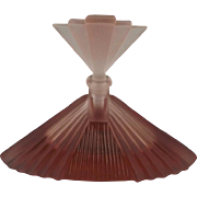 Frosted Pink Art Deco Perfume Bottle