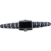 Sterling Silver, Marcasite and Onyx Brooch