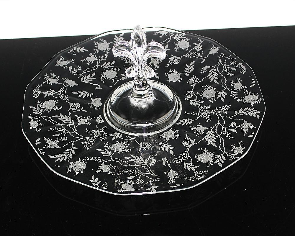 Center Handle Plate by Fostoria in Chintz Pattern