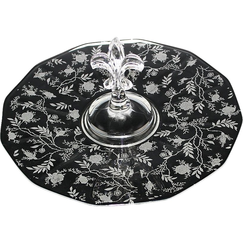 Center Handle Plate by Fostoria in Chintz Pattern