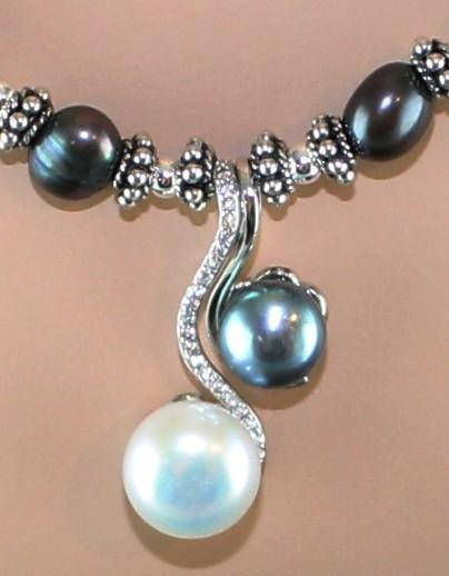 Yin and Yang Cultured Freshwater Pearl Necklace