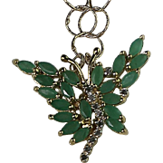 Genuine Untreated Precious Stone Emeralds, Diamond and Green Agate Necklace and Earring Set