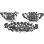 Heisey Crystolite Cream and Sugar Set ca 1937-57