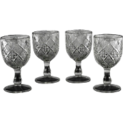 EAPG Panelled Diamond Block Goblets ca 1894
