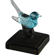 Westmoreland Glass Blue Song Bird on Branch ca 1960's-70's