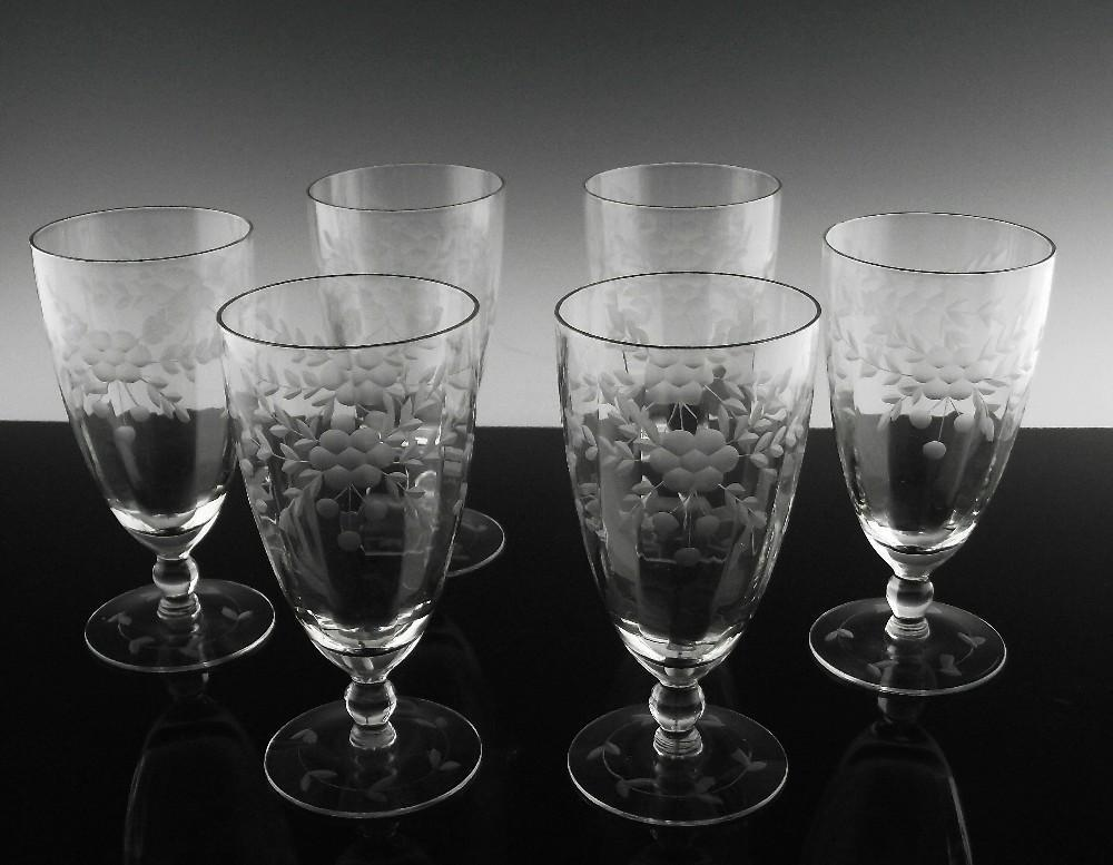 Floral Cut Tea Glasses in Blanche ca 1932