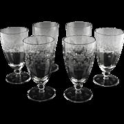 Floral Cut Tea Glasses in Blanche ca 1932