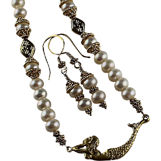 """""""Under The Sea"""" Freshwater Pearl Necklace With Gold Vermeil Mermaid"""