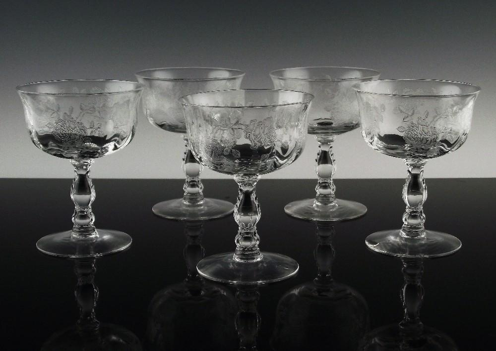 "Elegant ""Willowmere"" Sherbet or Low Cocktail Glasses by Fostoria ca 1938-1970"