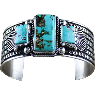 Royston Turquoise and Sterling Bracelet by Guy Hoskie