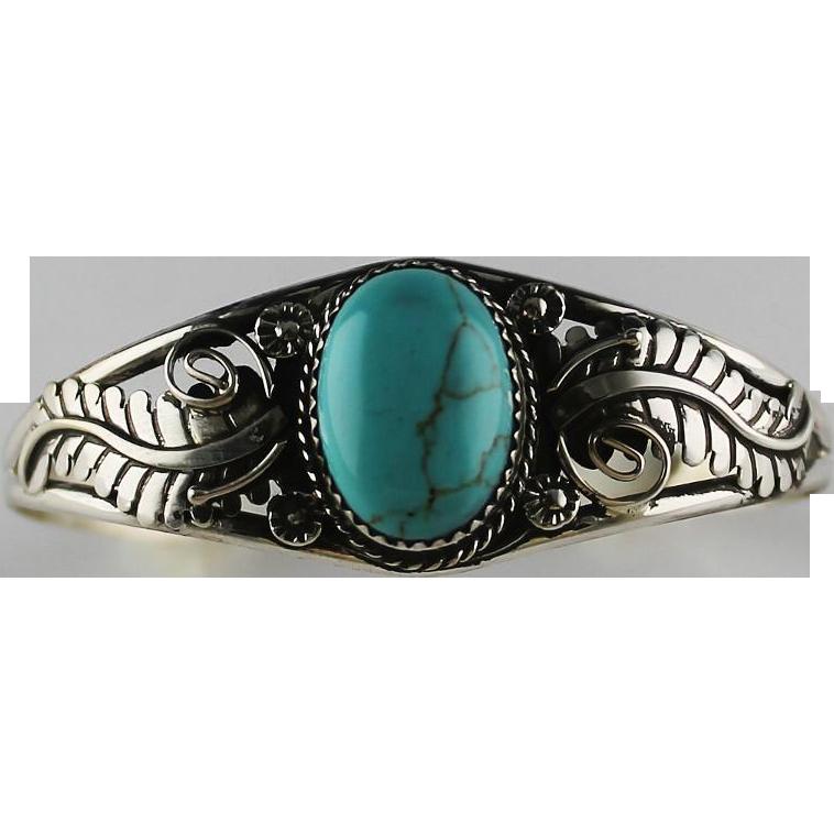 Navajo Cripple Creek Turquoise and Sterling Bracelet