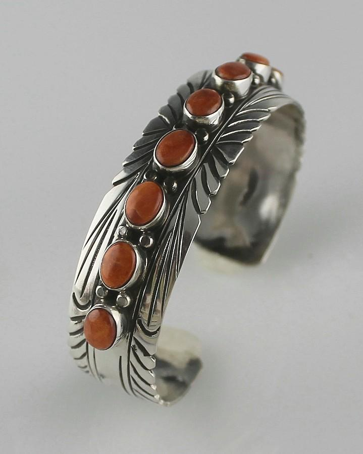 Navajo Sterling and Spiny Oyster Bracelet