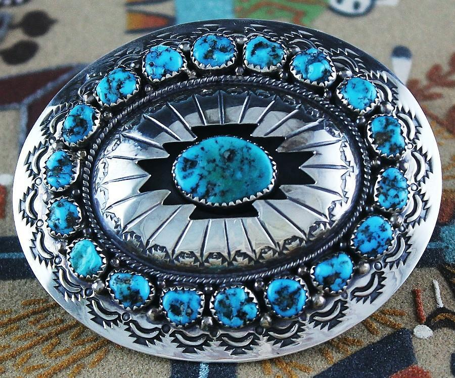 Navajo Sterling and Turquoise Belt Buckle by Wilbert Muskett
