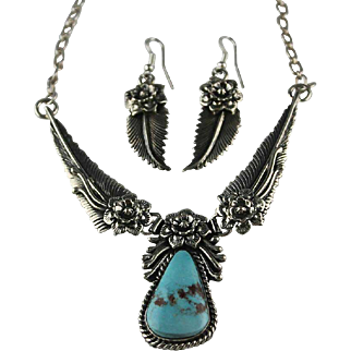 Navajo Jason B. Sterling Silver and Turquoise Necklace and Earring Set