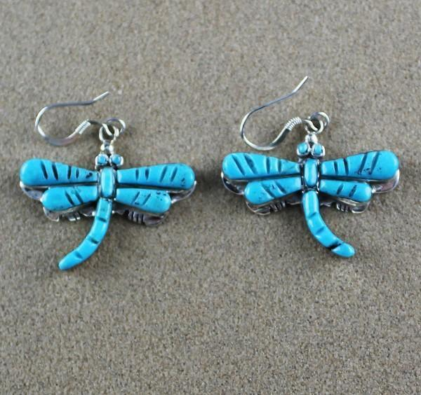 Zuni Rolled Inlay Turquoise Earrings